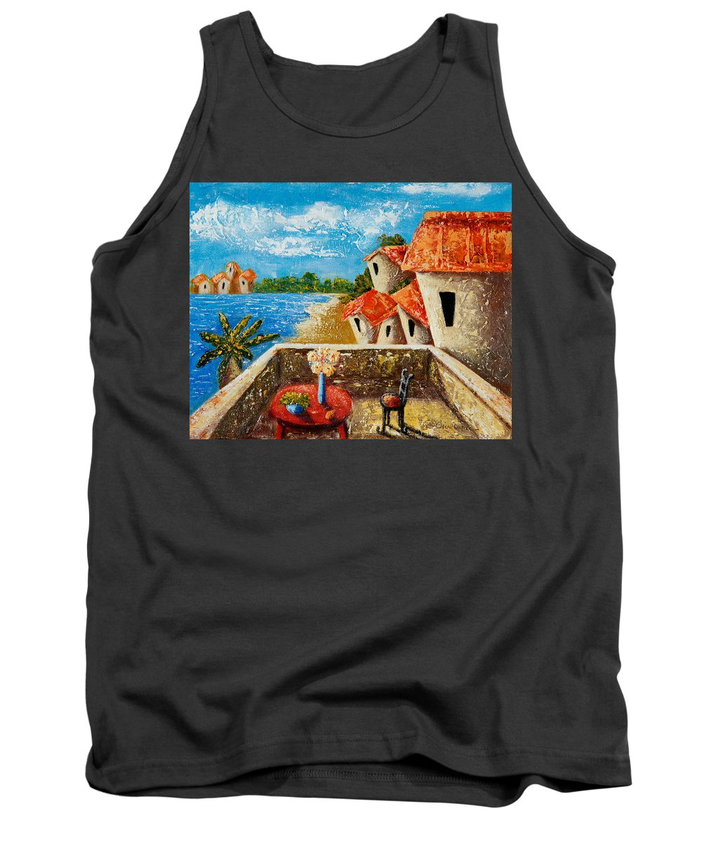 Landscape Tank Top featuring the painting Playa Gorda by Oscar Ortiz