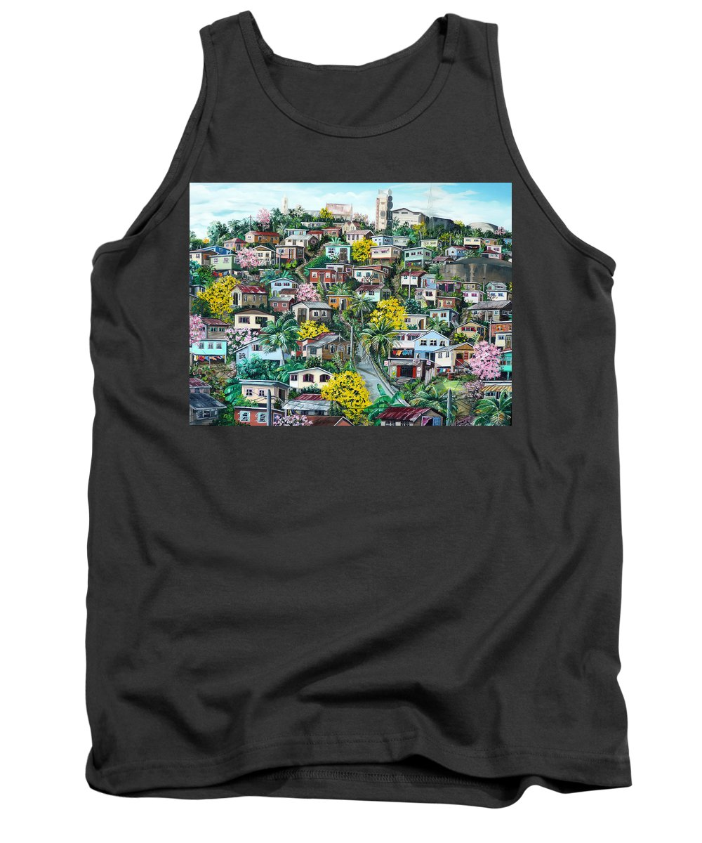 Landscape Painting Cityscape Painting Original Oil Painting  Blossoming Poui Tree Painting Lavantille Hill Trinidad And Tobago Painting Caribbean Painting Tropical Painting Tank Top featuring the painting Poui On The Hill by Karin Dawn Kelshall- Best