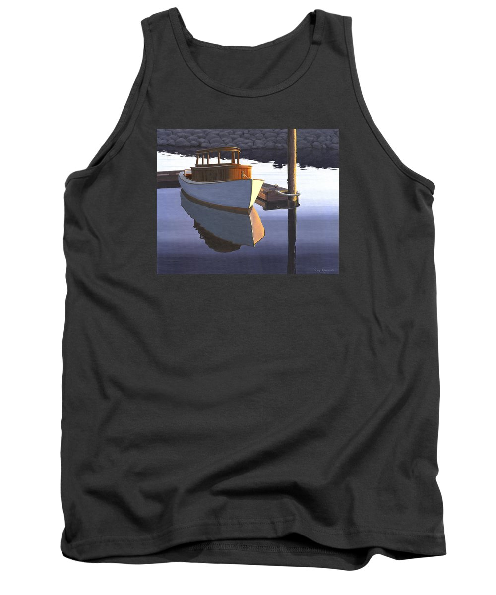 Marine Tank Top featuring the painting Retired fisherman by Gary Giacomelli