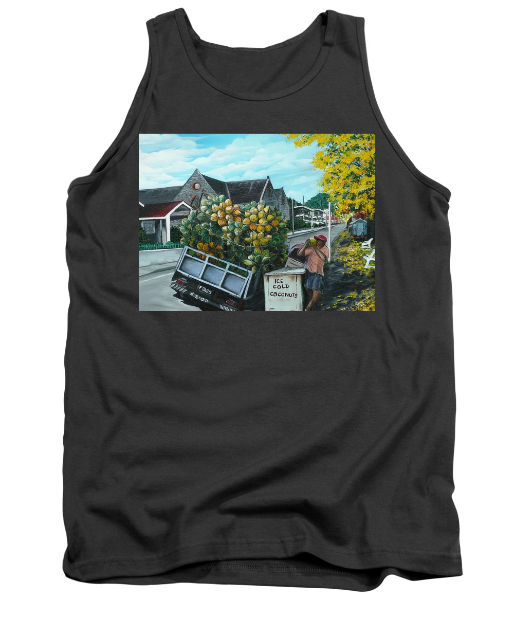 Caribbean Painting Coconuts Vendor Trinidad And Tobago Painting Savannah Paintings  Poui Tree Painting Tropical Painting Tank Top featuring the painting Savannah Coconut Vendor by Karin Dawn Kelshall- Best
