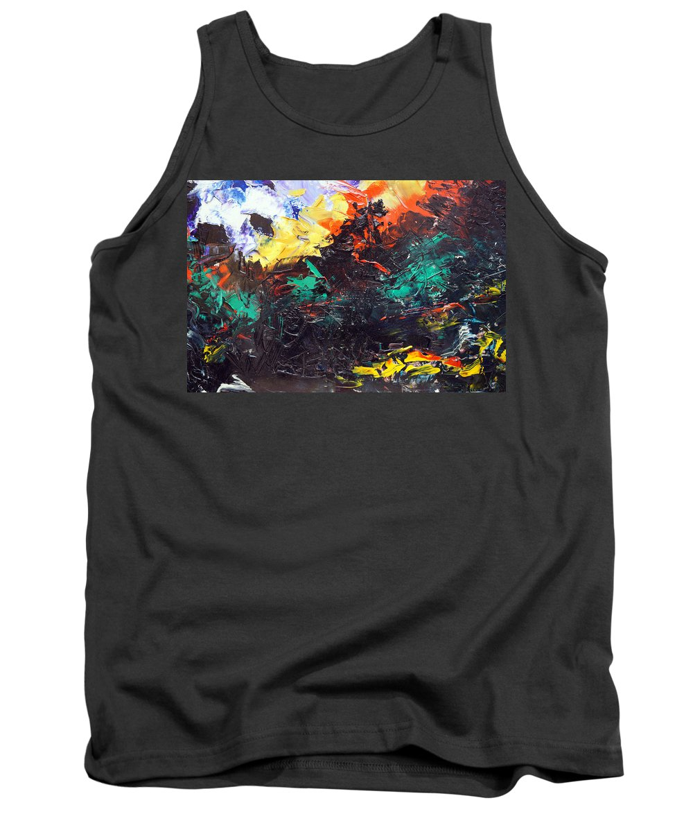 Vision Tank Top featuring the painting Schizophrenia by Sergey Bezhinets