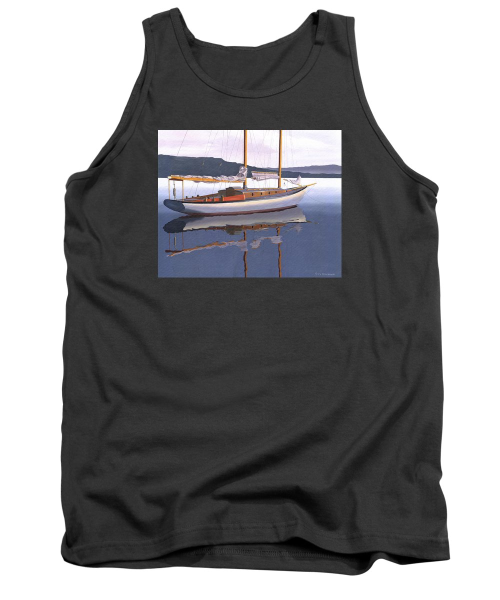 Schooner Tank Top featuring the painting Schooner at dusk by Gary Giacomelli