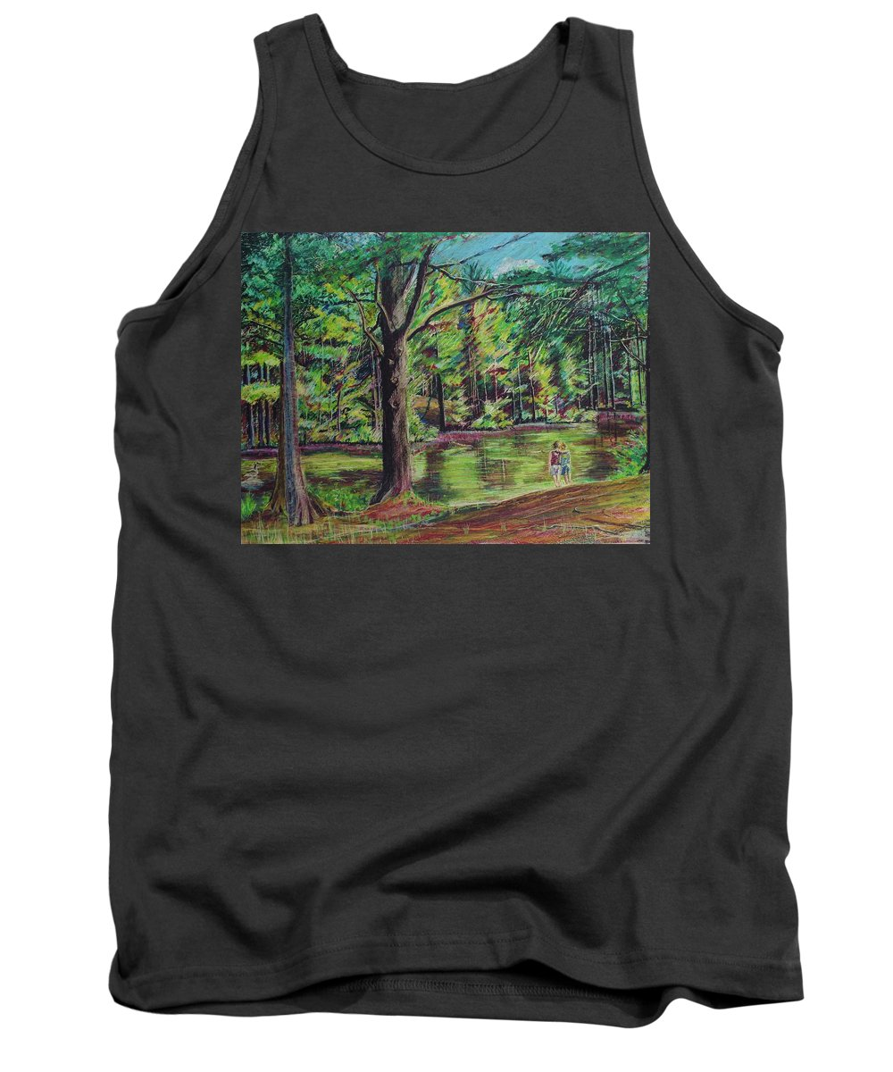 Family Tank Top featuring the pastel Sisters At Wason Pond by Sean Connolly
