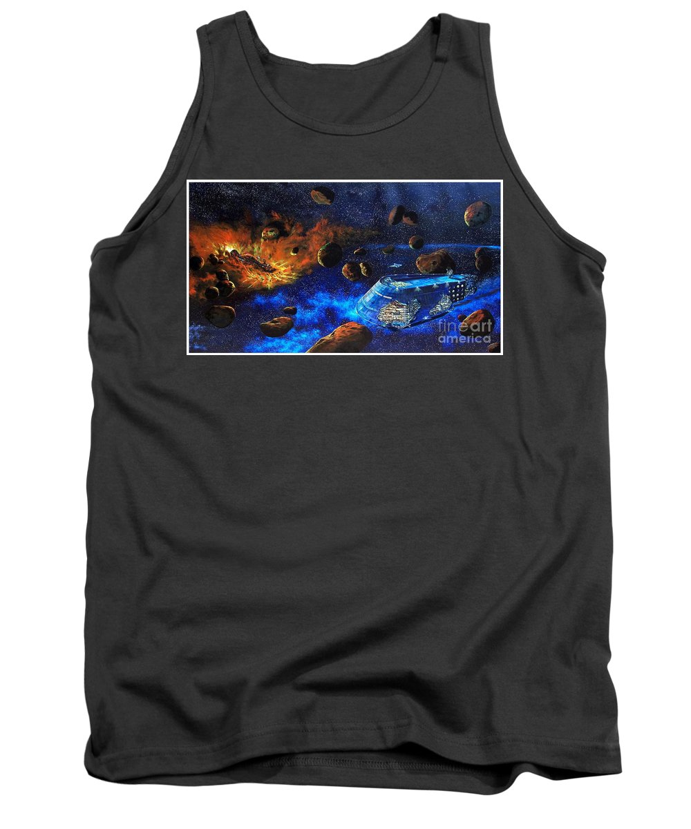 Future Tank Top featuring the painting Spaceship Titanic by Murphy Elliott