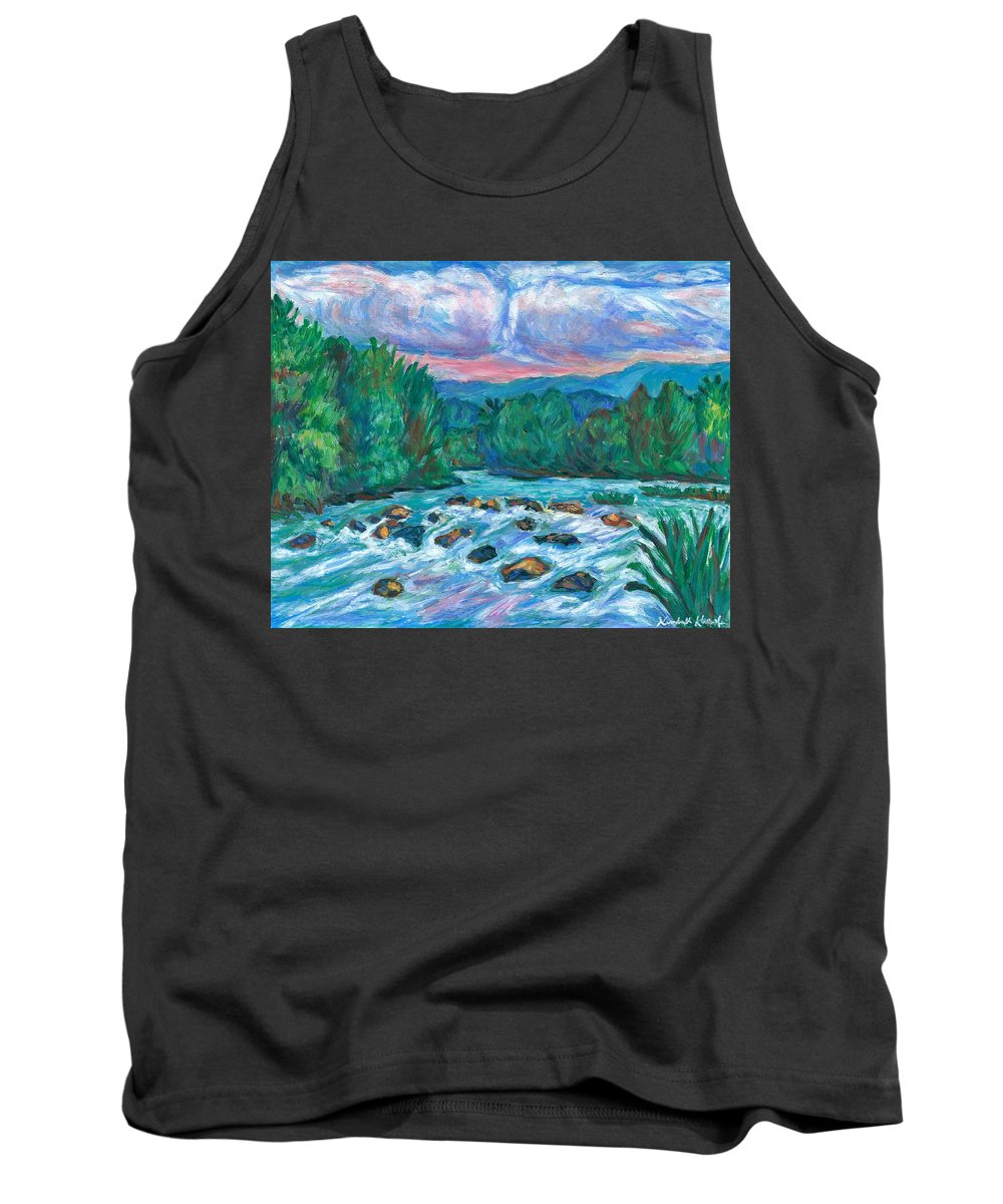 Landscape Tank Top featuring the painting Stepping Stones on the New River by Kendall Kessler