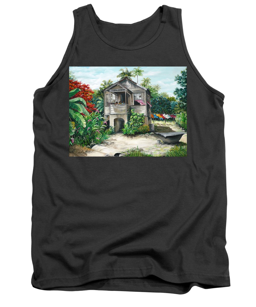 Landscape Painting Caribbean Painting House Painting Tobago Painting Trinidad Painting Tropical Painting Flamboyant Painting Banana Painting Trees Painting Original Painting Of Typical Country House In Trinidad And Tobago Tank Top featuring the painting Sweet Island Life by Karin Dawn Kelshall- Best