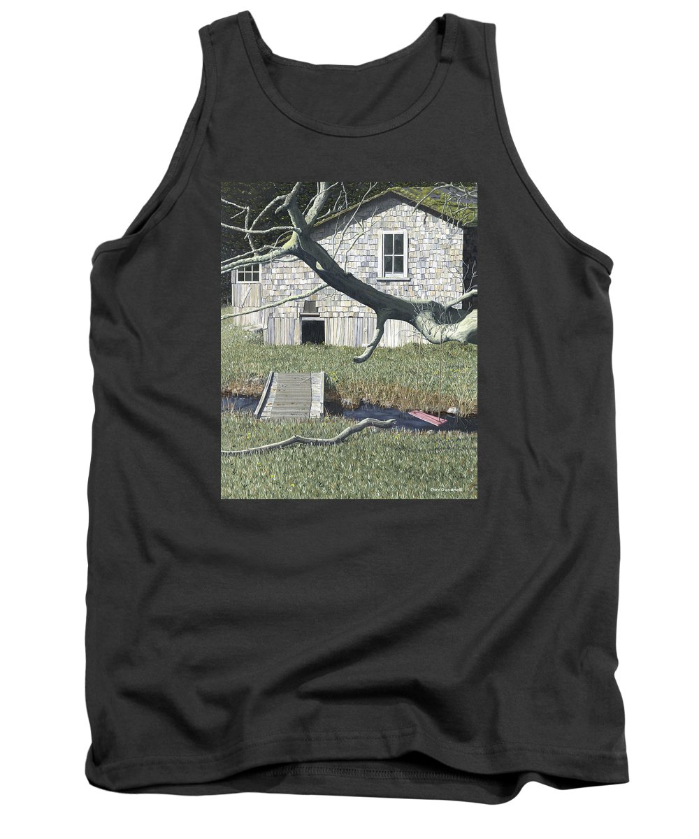 Landscape Tank Top featuring the painting The old swing by Gary Giacomelli