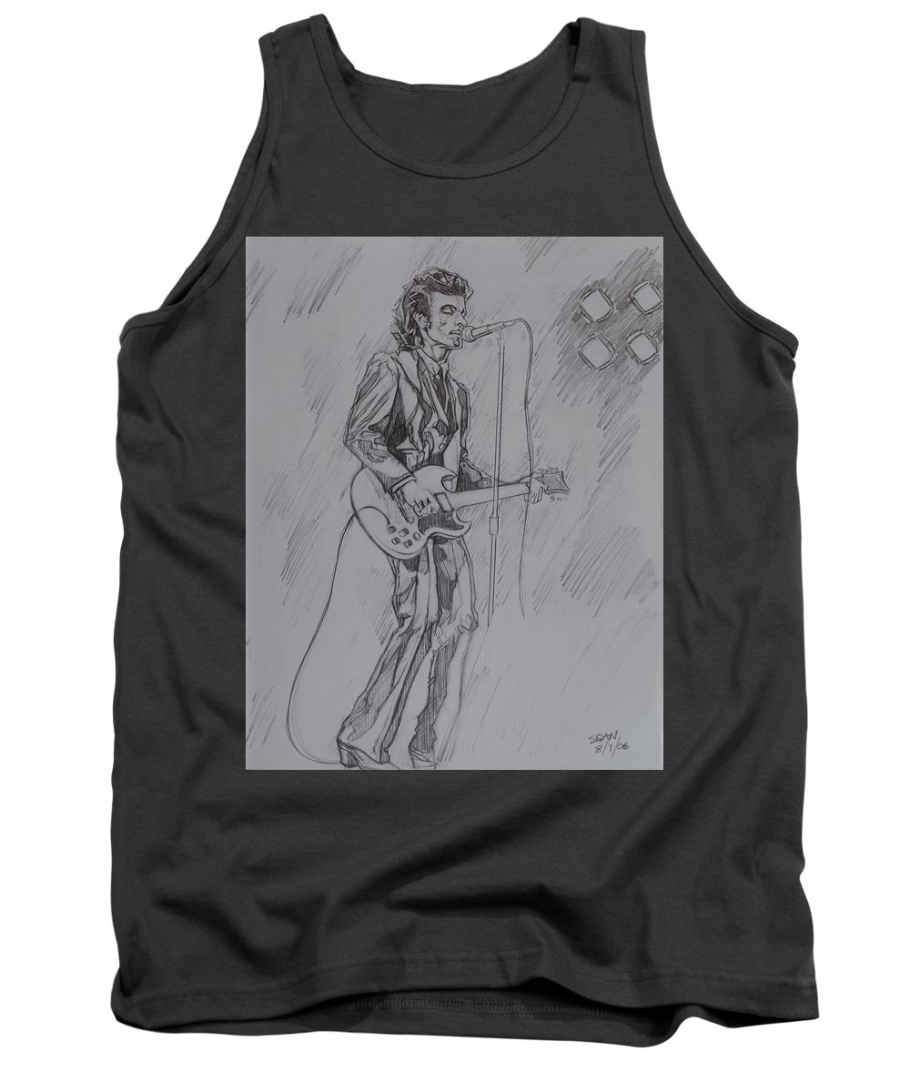 Pencil Tank Top featuring the drawing Willy DeVille - Steady Drivin' Man by Sean Connolly