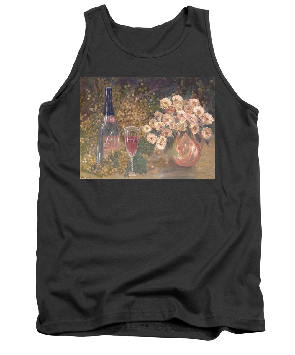 Stilllife; Floral; Wine Tank Top featuring the painting Wine And Roses by Ben Kiger