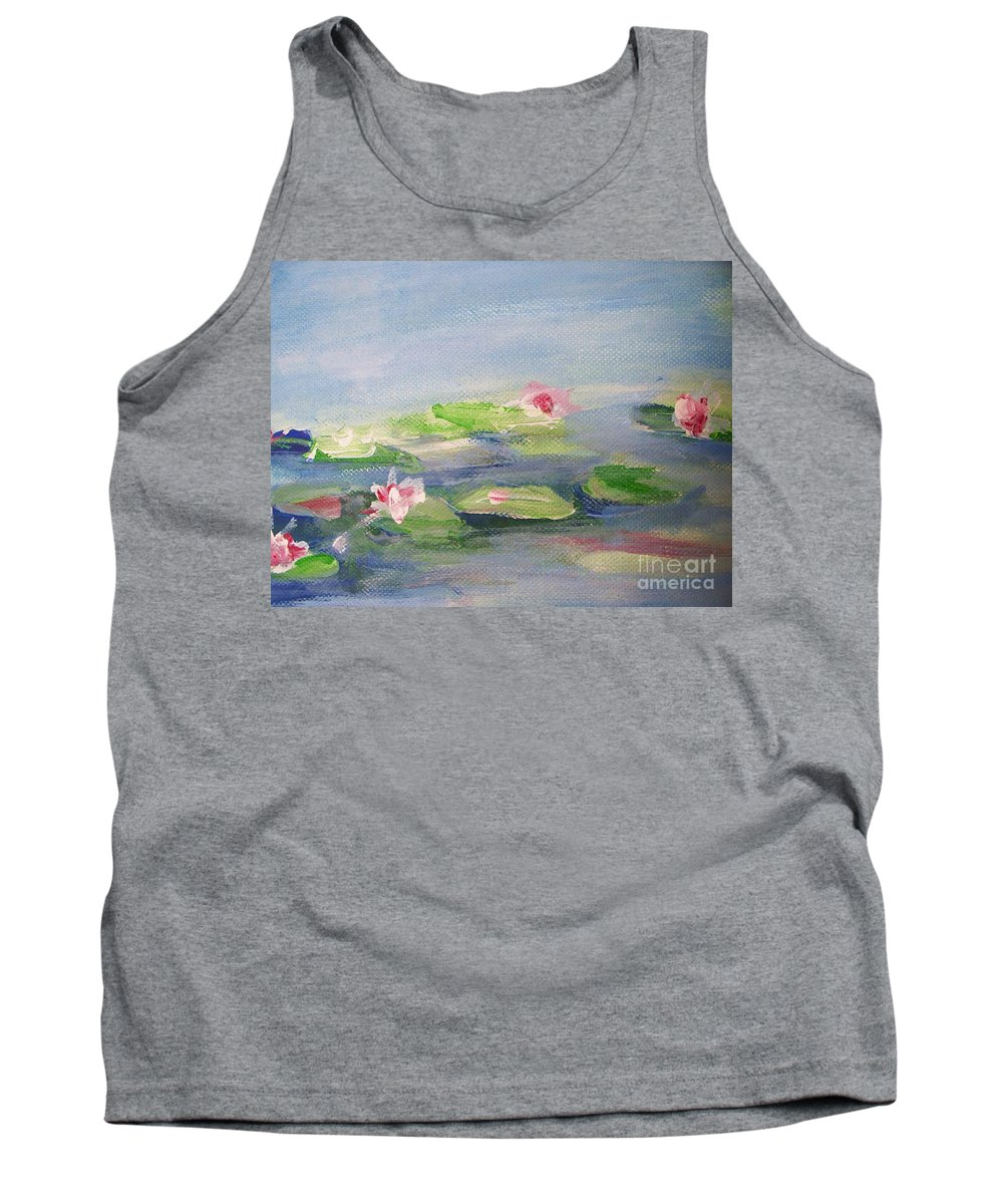 Photograph Tank Top featuring the painting Impressionistic Lilies Monet by Eric Schiabor
