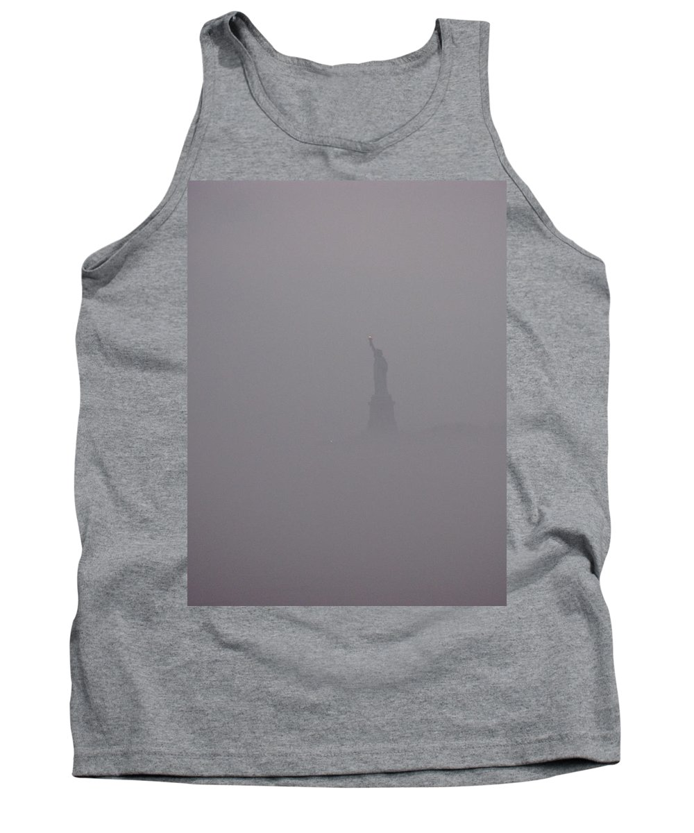 Liberty Tank Top featuring the photograph Liberty Fogbound by Robert McCulloch