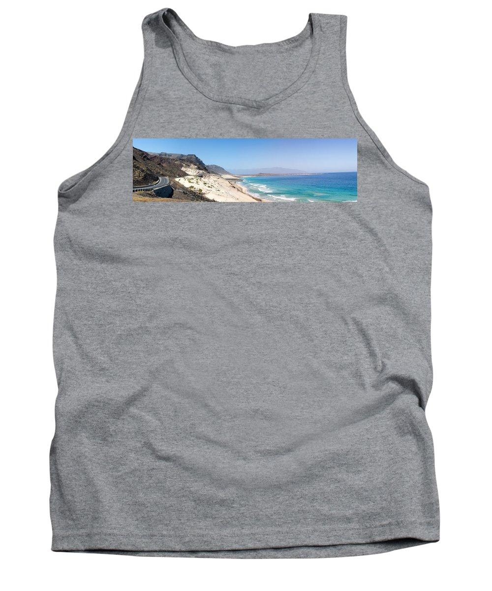 Cape Verde Tank Top featuring the photograph Road And Beaches Of Sao Vicente Cape Verde by Alexander Manykin