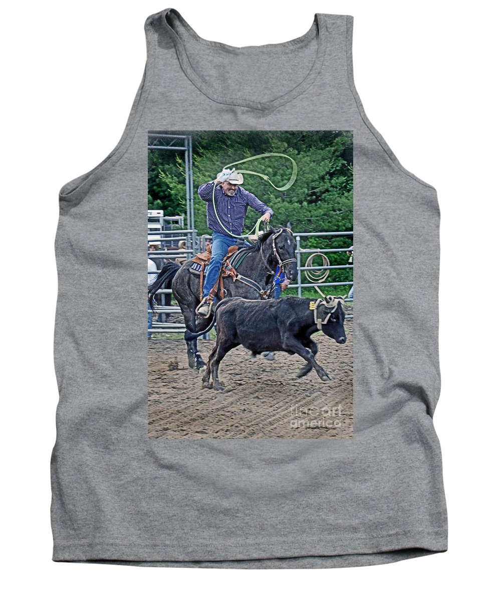 Roping Tank Top featuring the photograph The Header by Gary Keesler