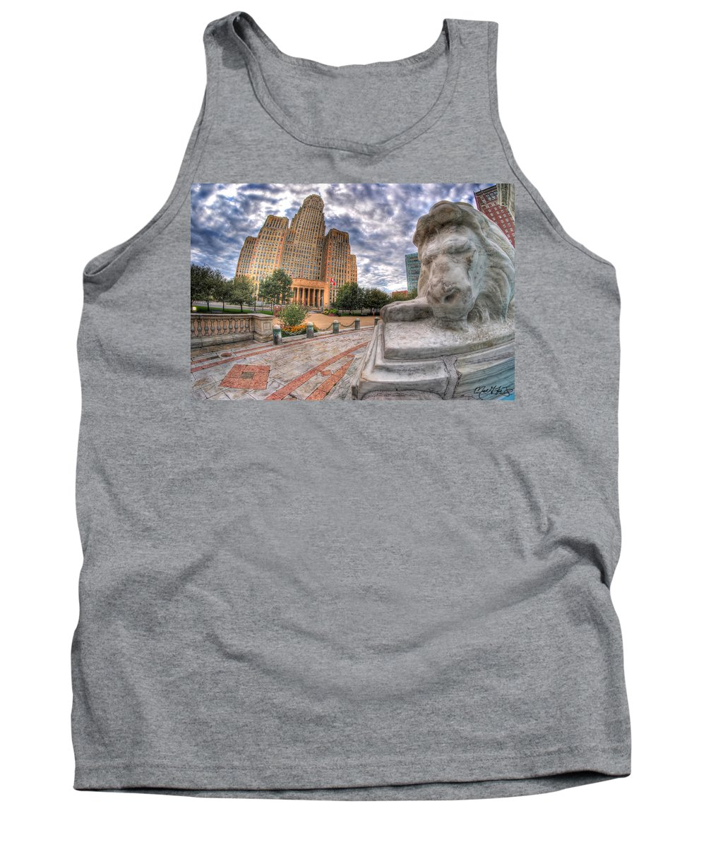 Queen City Tank Top featuring the photograph 003 Sleeping Lions City Hall View by Michael Frank Jr