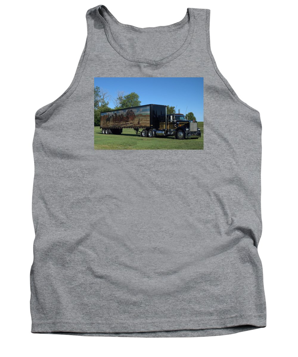 1973 Tank Top featuring the photograph Smokey And The Bandit Tribute 1973 Kenworth W900 Black And Gold Semi Truck by Tim McCullough