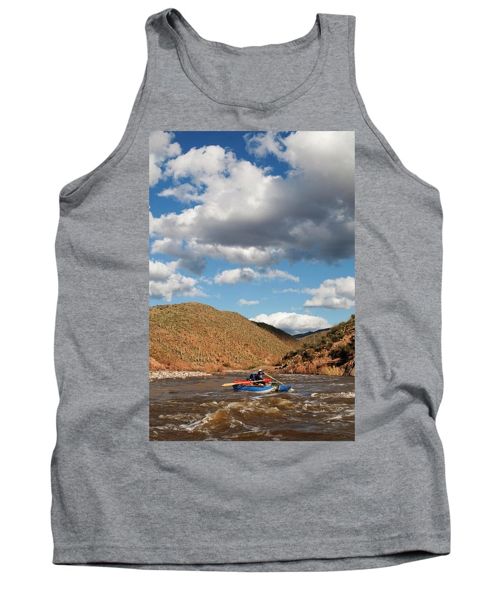 20s Tank Top featuring the photograph A Whitewater Rafters Rows His Boat by Kyle George