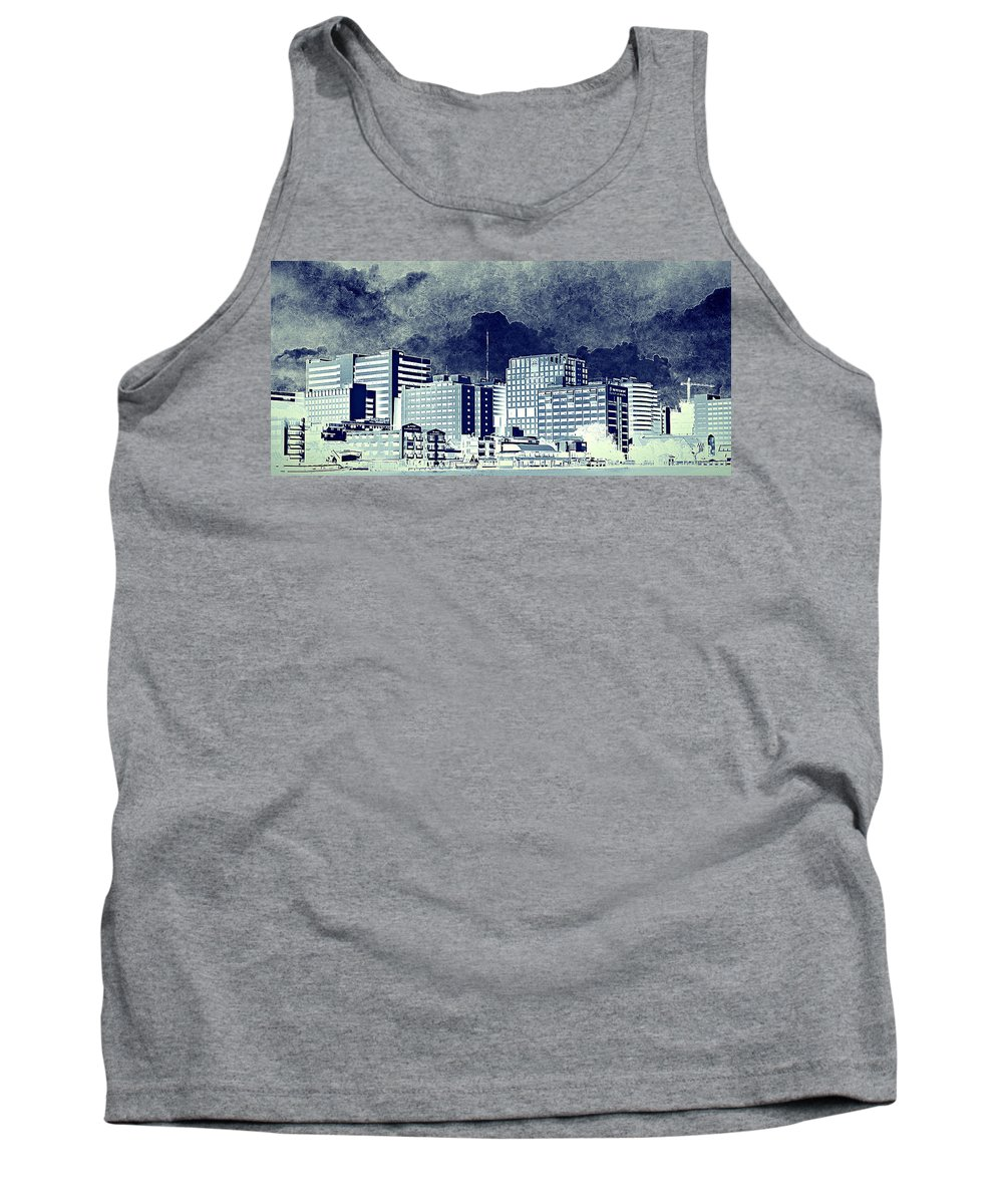 City Life Tank Top featuring the mixed media Bangkok Panorama by Heike Hultsch