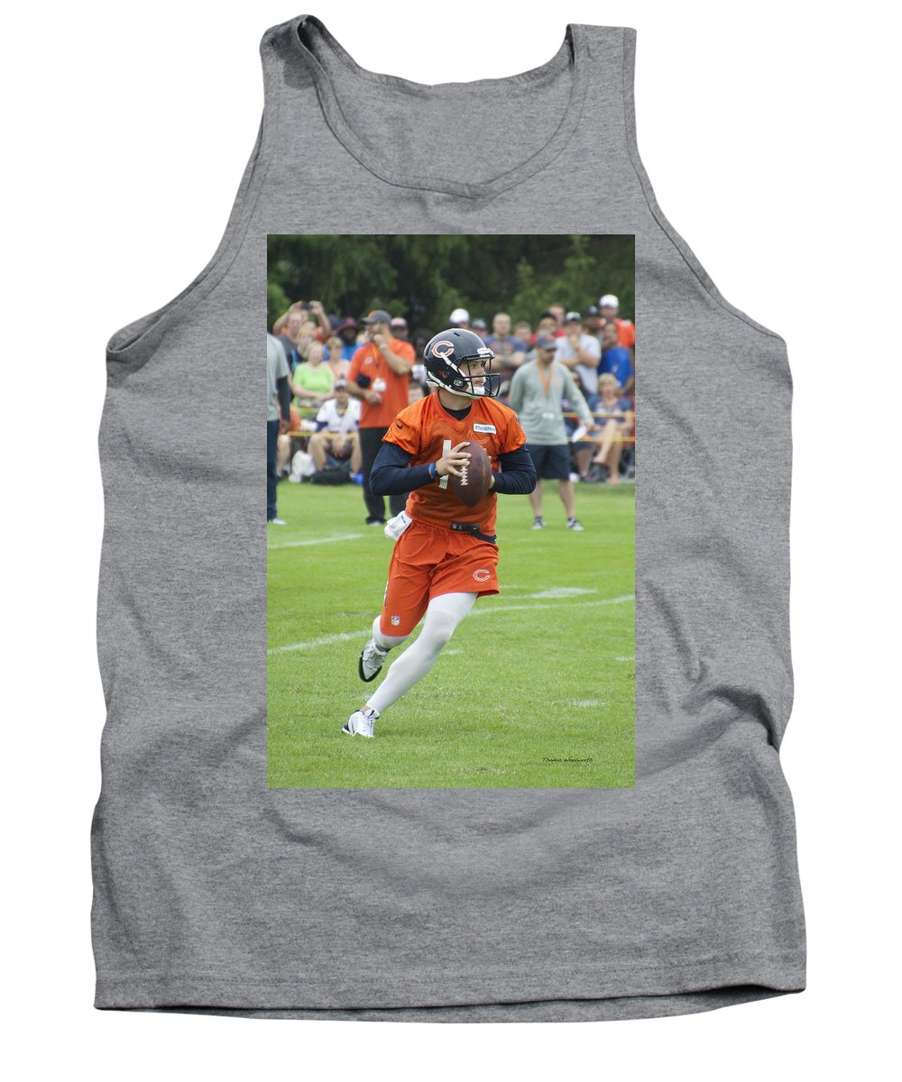 Chicago Bears Tank Top featuring the photograph Chicago Bears Qb David Foles Training Camp 2014 05 by Thomas Woolworth