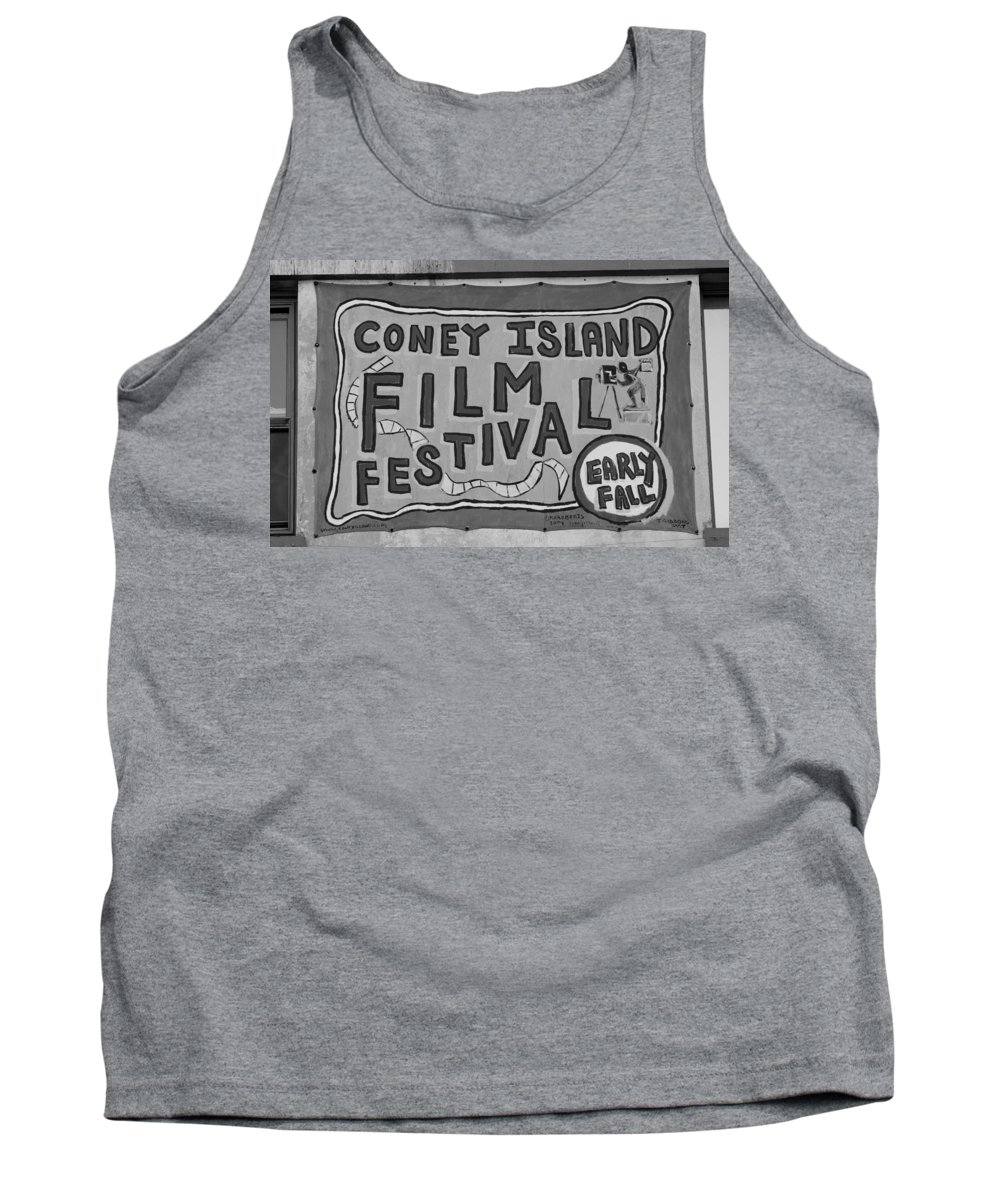 Brooklyn Tank Top featuring the photograph CONEY ISLAND FILM FEST in BLACK AND WHITE by Rob Hans