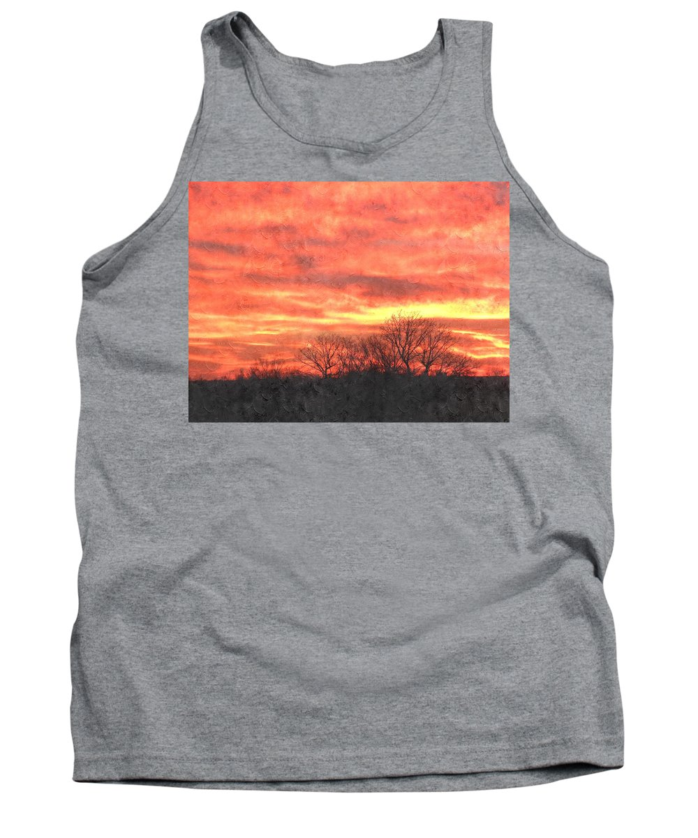 Flaming Sunset Tank Top featuring the photograph Flaming Sunset by Annie Adkins