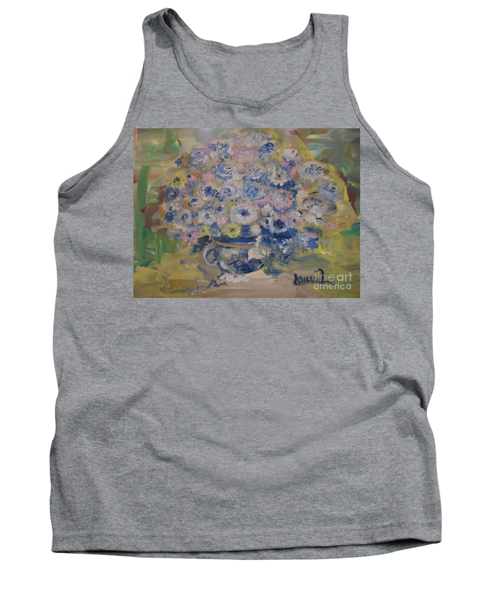 Flowers Tank Top featuring the painting Flow Bleu by Laurie Lundquist