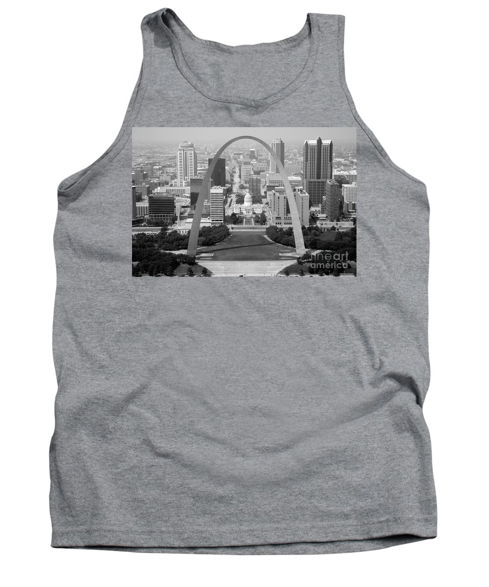 Black And White Tank Top featuring the photograph Gateway Arch In St. Louis Mo by Bill Cobb