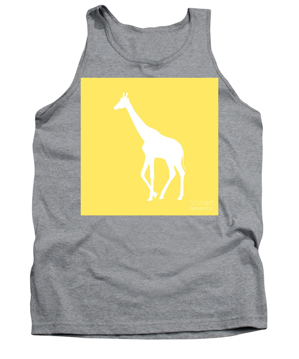 Graphic Art Tank Top featuring the digital art Giraffe In Yellow And White by Jackie Farnsworth