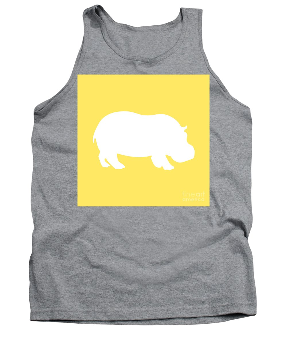 Graphic Art Tank Top featuring the digital art Hippo In Yellow And White by Jackie Farnsworth