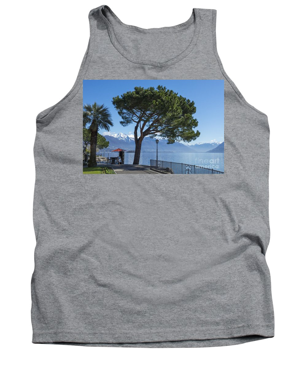 Street Tank Top featuring the photograph Lakeside With Trees by Mats Silvan