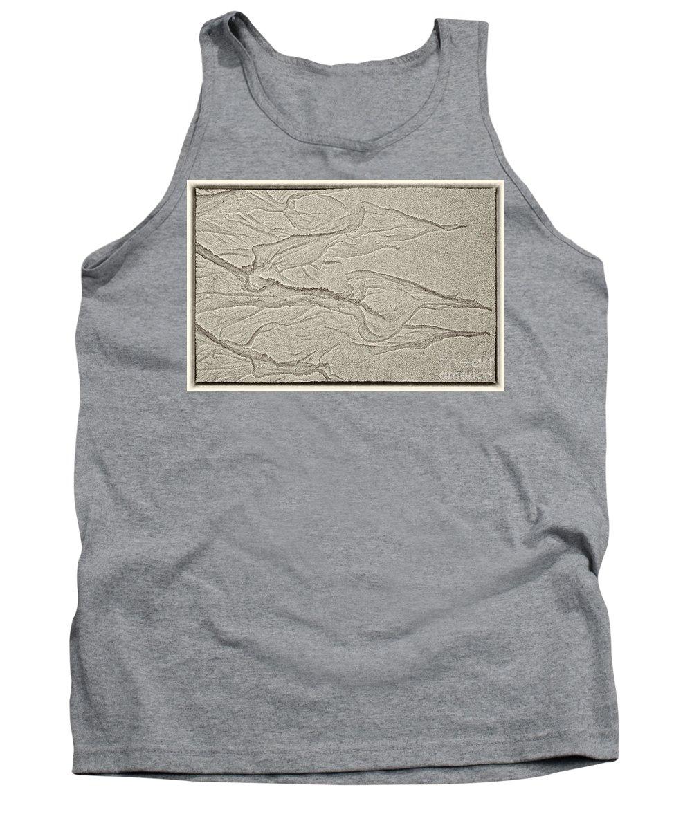 Iris Holzer Richardson Tank Top featuring the photograph Ocean Sand Art Hearts Left Side by Iris Richardson