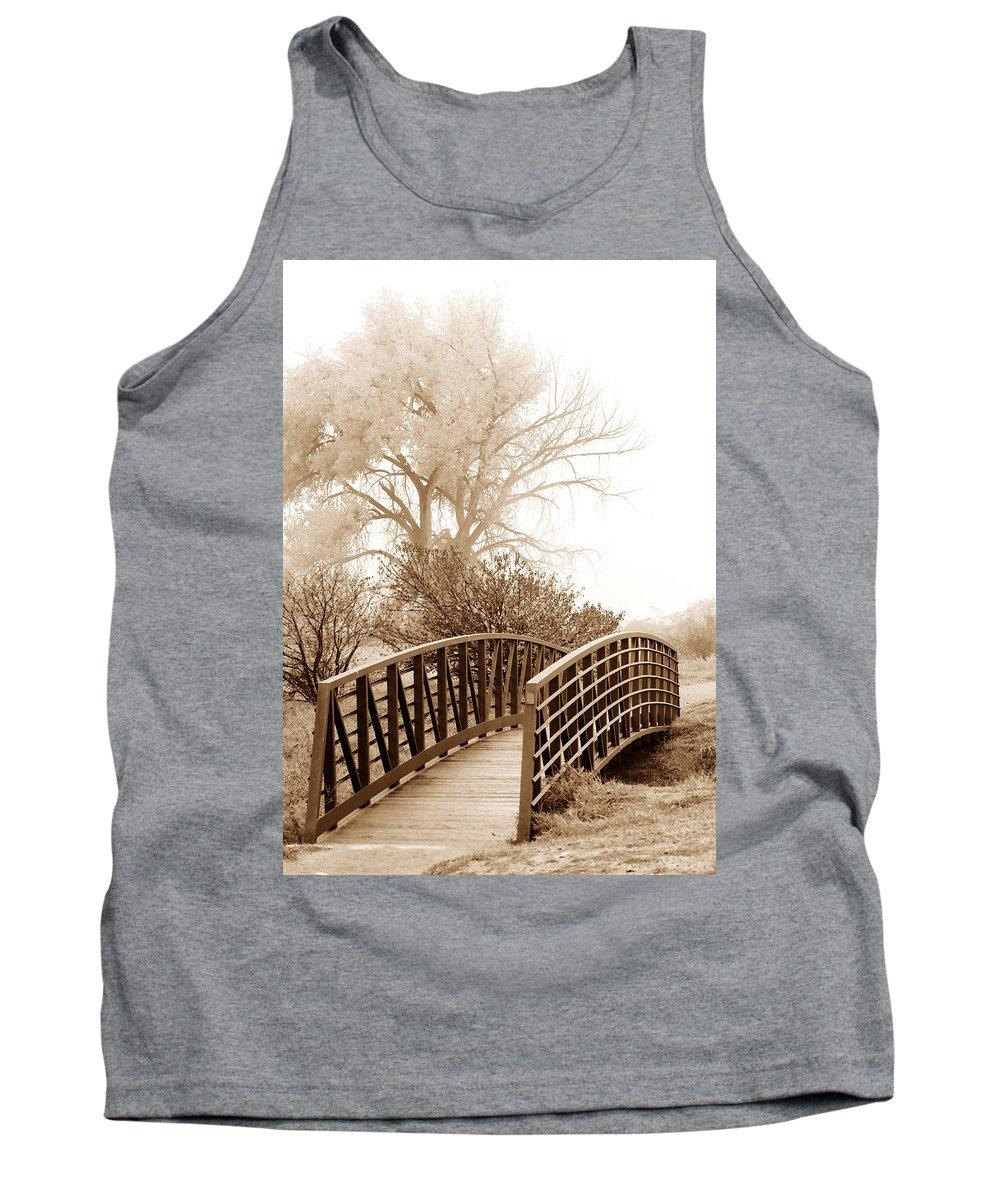Fog Tank Top featuring the photograph Pedestrian Bridge by Marilyn Hunt