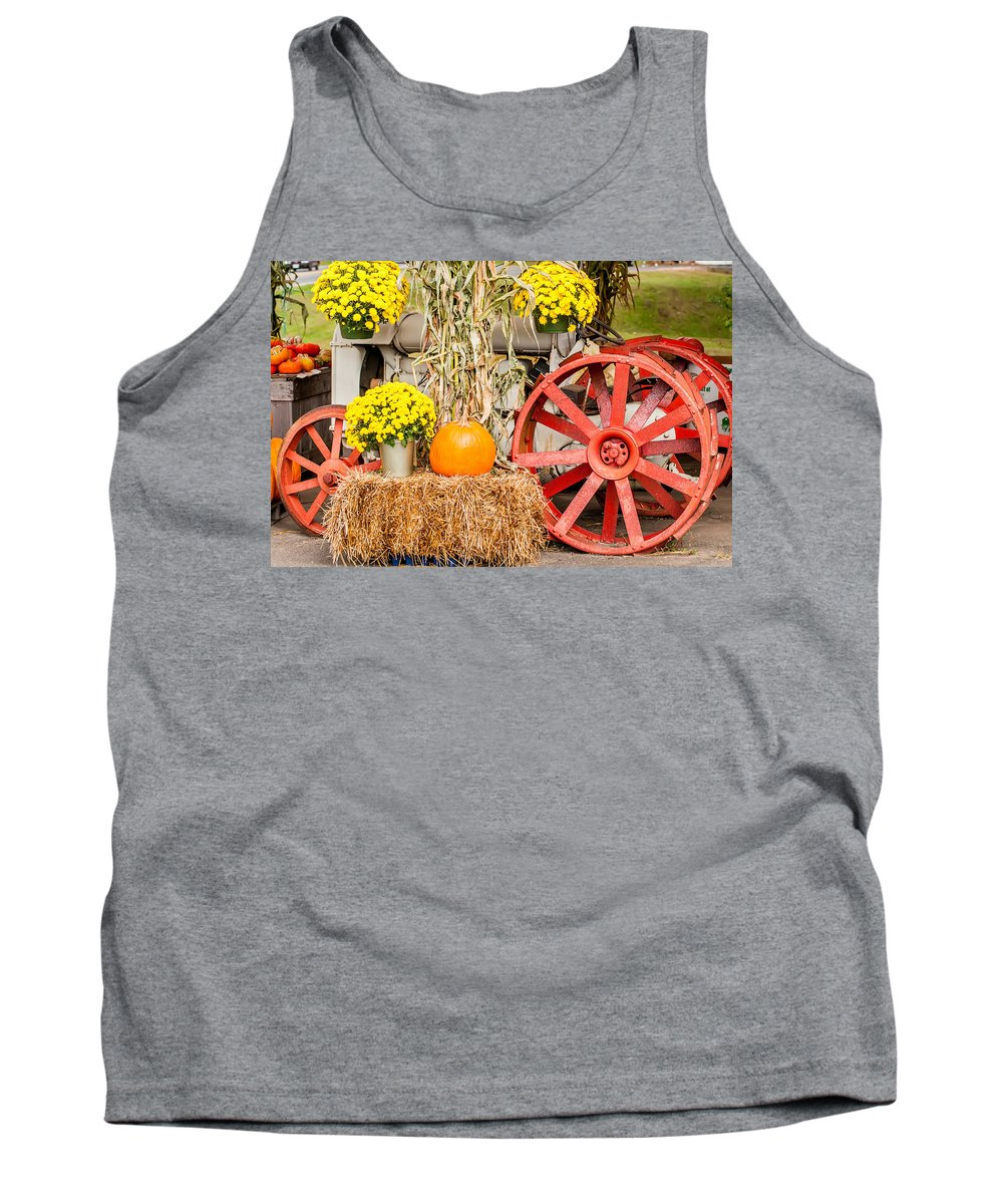 Agricultural Tank Top featuring the photograph Pumpkins Next To An Old Farm Tractor by Alex Grichenko
