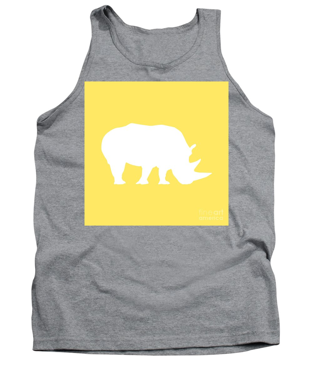Graphic Art Tank Top featuring the digital art Rhino In Yellow And White by Jackie Farnsworth