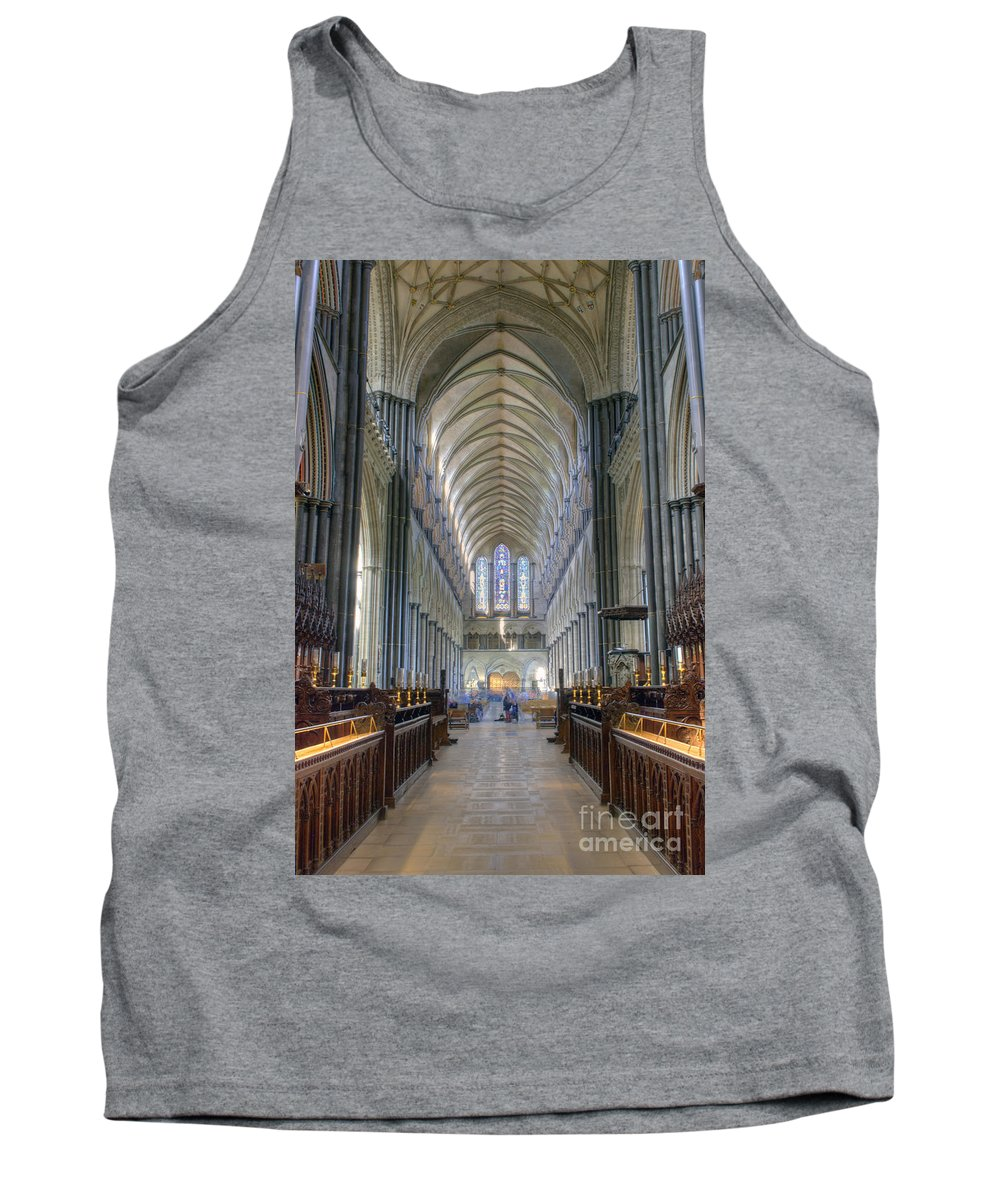 Architecture Tank Top featuring the photograph Salisbury Cathedral by Juli Scalzi