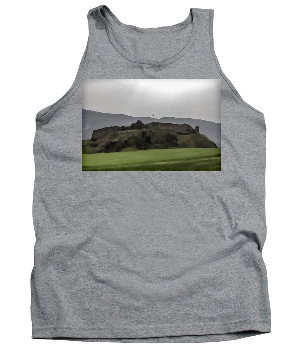 Blue Sky Tank Top featuring the digital art Saltire And The Ruins Of The Urquhart Castle by Ashish Agarwal