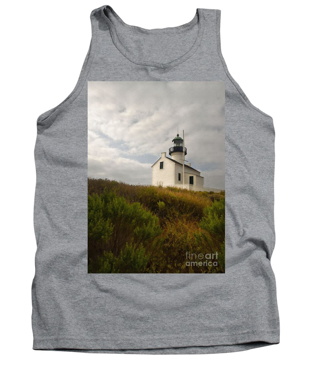 Architecture Tank Top featuring the digital art San Diego Lighthouse by Sharon Foster