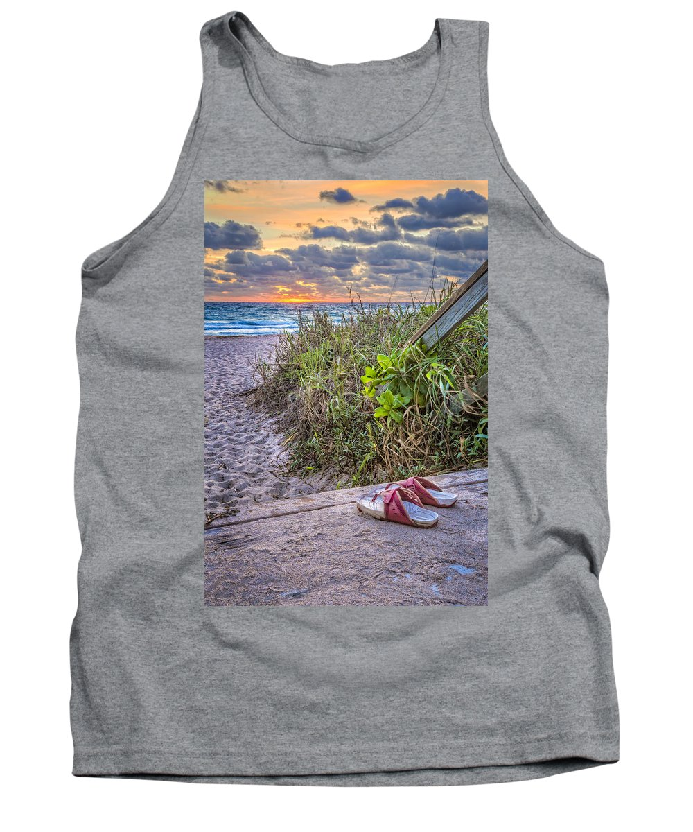 On Tank Top featuring the photograph Sandy Toes by Debra and Dave Vanderlaan