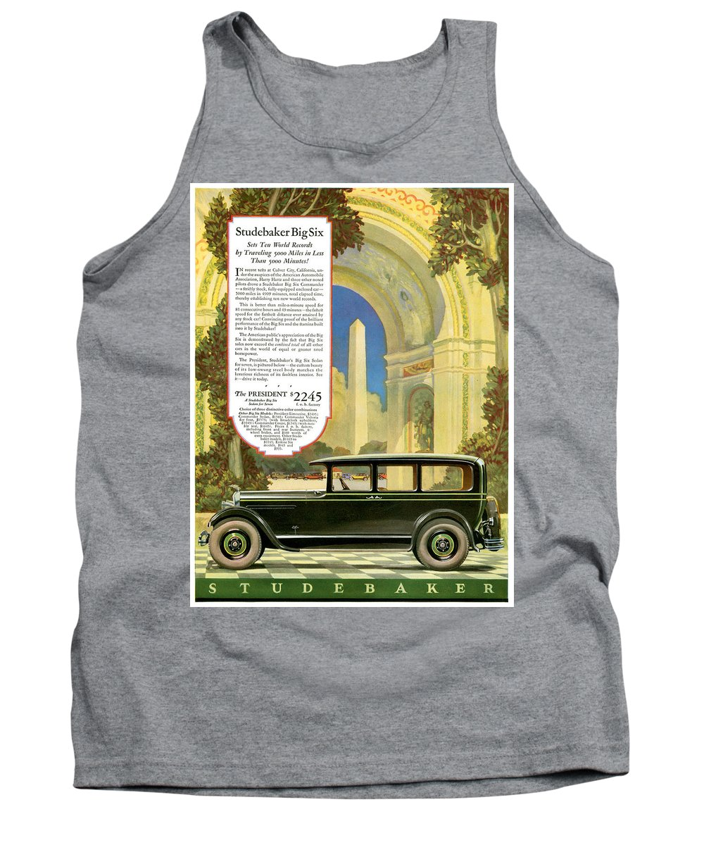 Advertisement Tank Top featuring the drawing Studebaker Big Six - Vintage Car Poster by World Art Prints And Designs