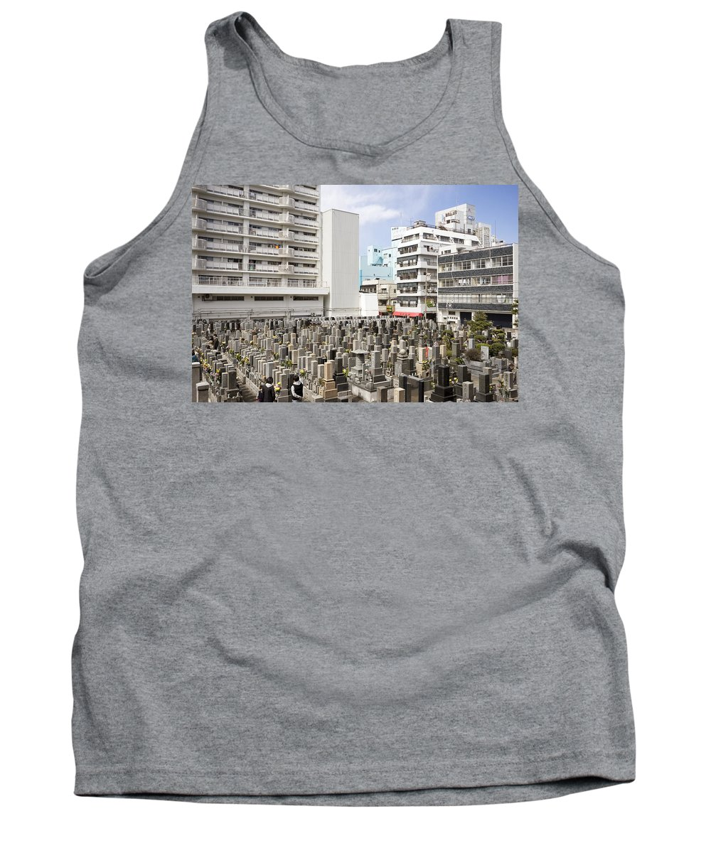 Street Photography Tokyo Tank Top featuring the photograph Super Dense Cemetery In Tokyo by For Ninety One Days