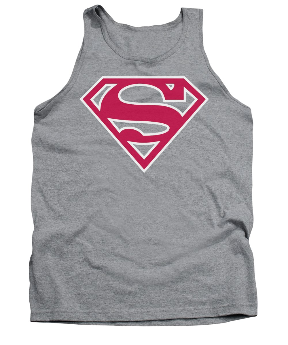 Superman Tank Top featuring the digital art Superman - Red And White Shield by Brand A