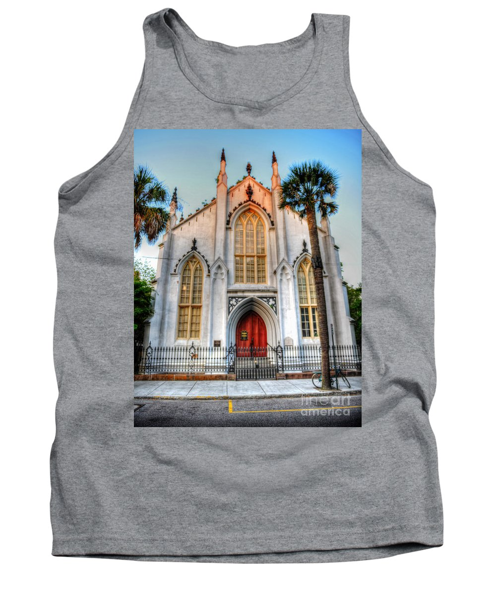 French Huguenot Tank Top featuring the photograph The French Huguenot Church by Dale Powell