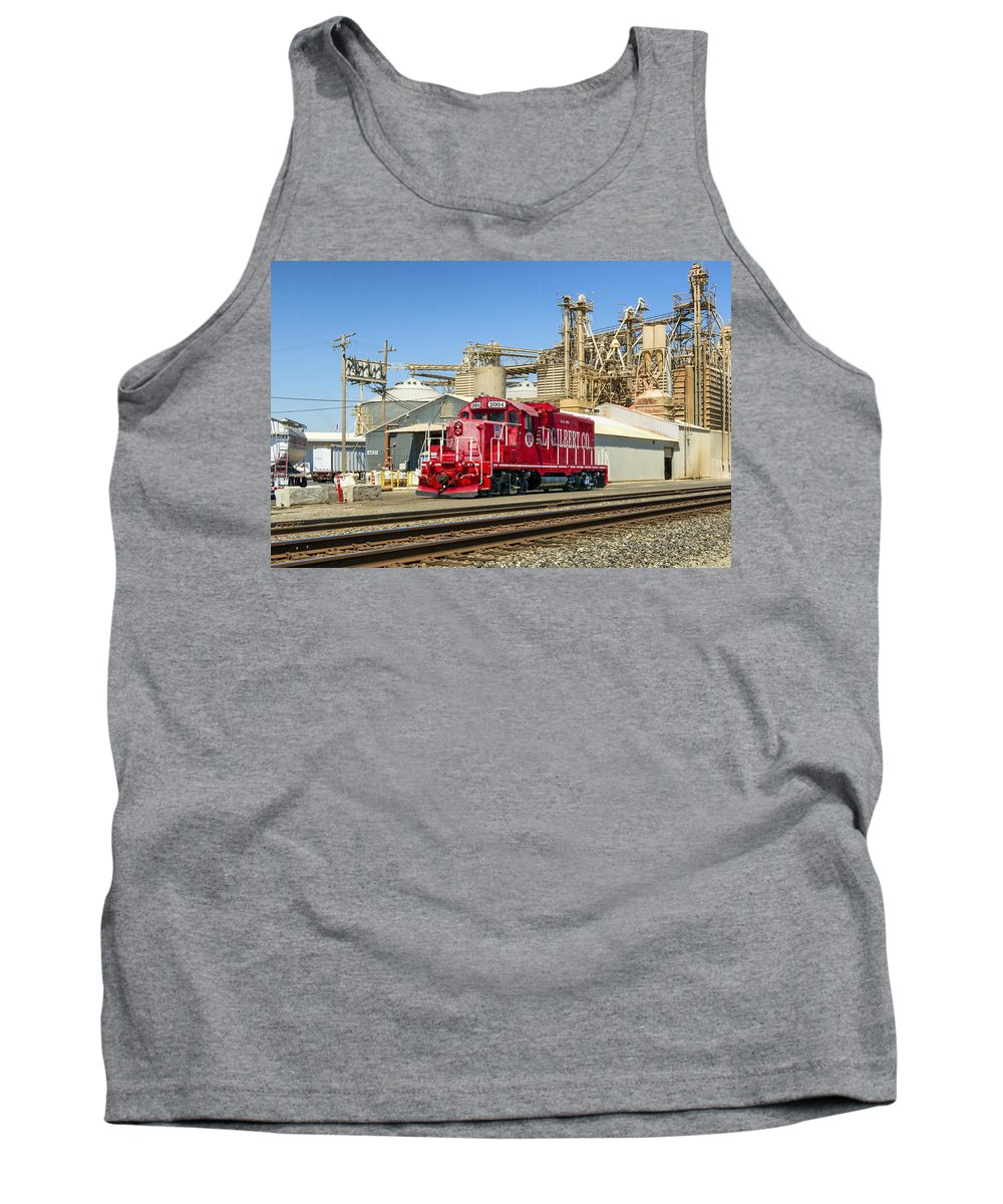 A.l. Gilbert Co. Tank Top featuring the photograph The Red Locomotive by Jim Thompson
