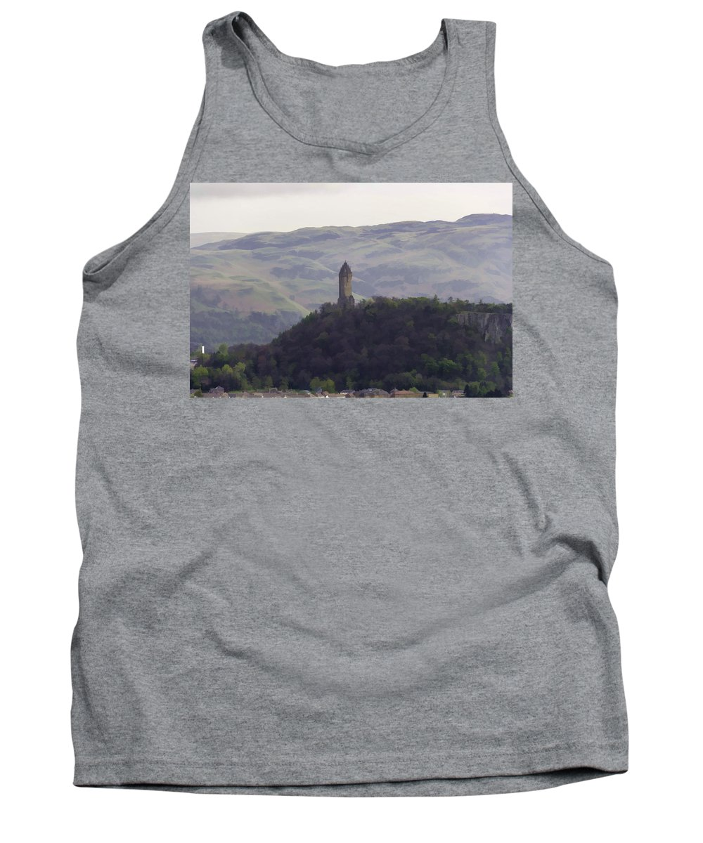 Action Tank Top featuring the photograph View Of Wallace Monument From The Heights Of The Stirling Castle by Ashish Agarwal