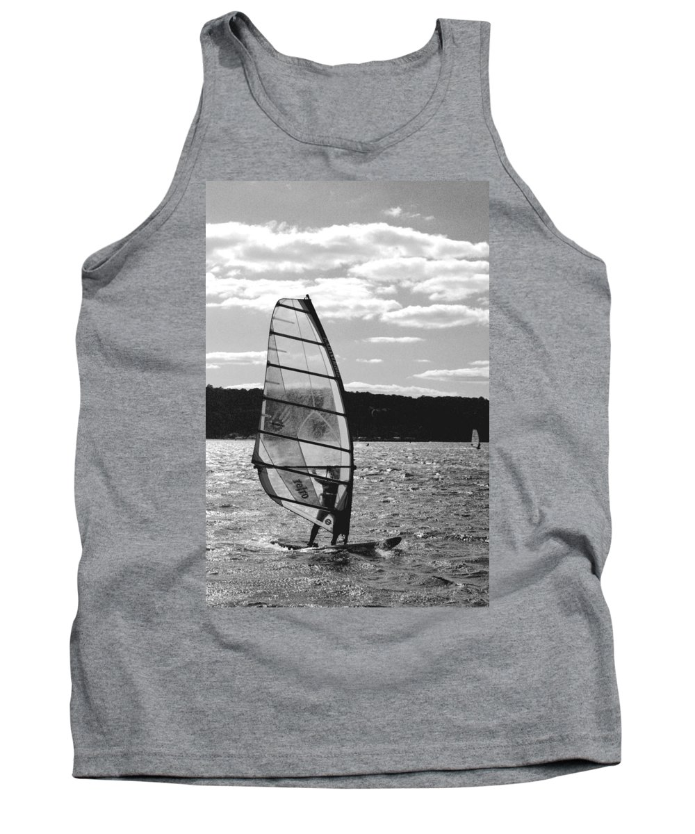 Sandy Tank Top featuring the photograph Wind Surfer Bw by Pablo Rosales