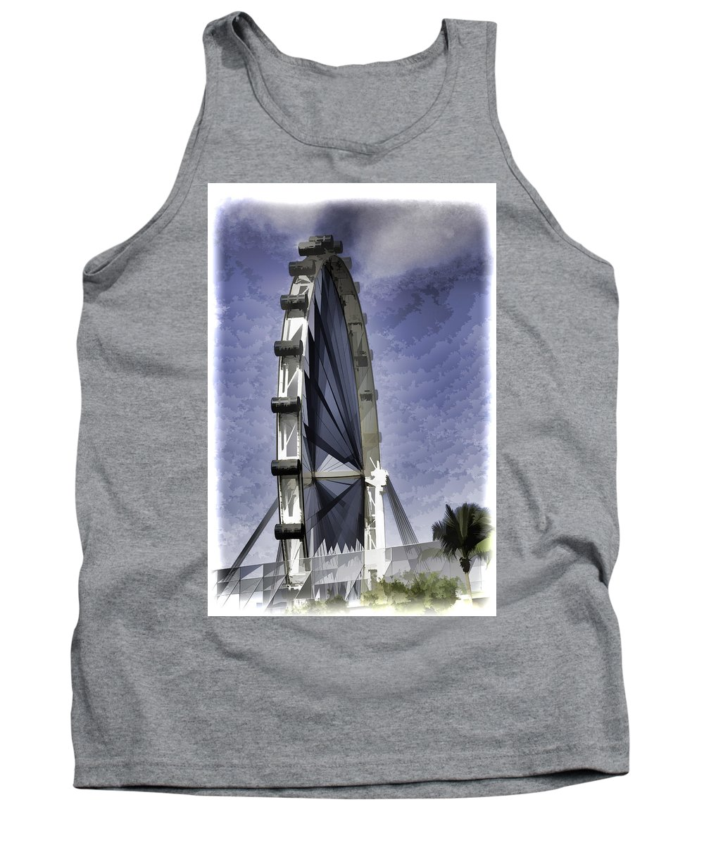Asia Tank Top featuring the digital art Singapore Flyer by Ashish Agarwal