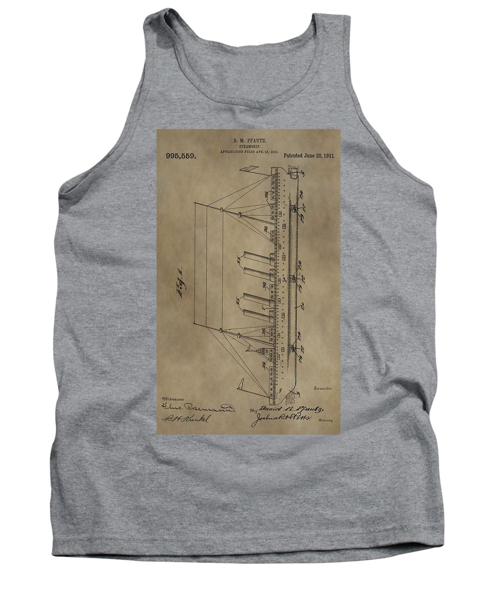 1911 Steamship Patent Tank Top featuring the mixed media 1911 Steamship Patent by Dan Sproul