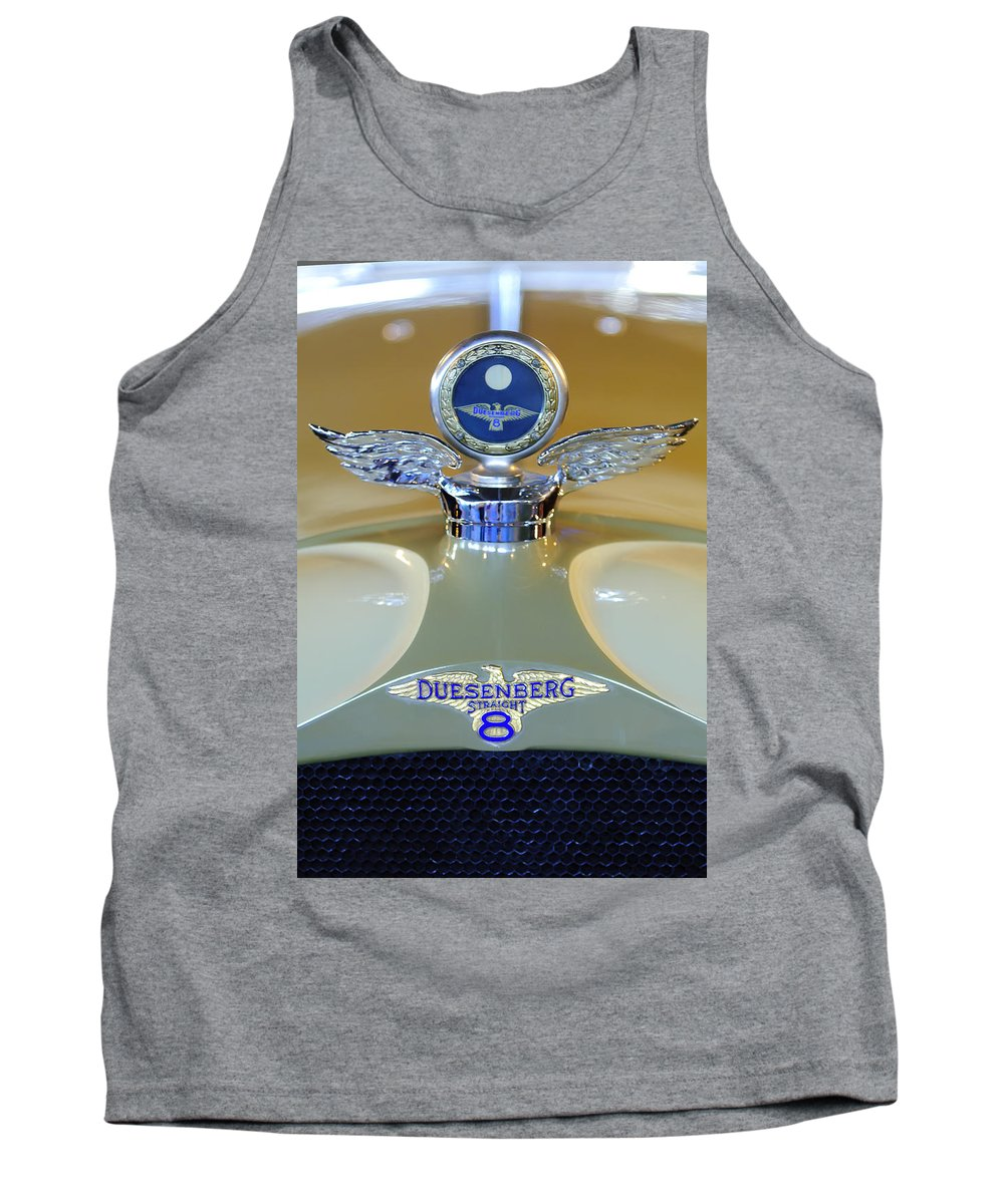 1926 Duesenberg Model A Dual Windshield Phaeton Tank Top featuring the photograph 1926 Duesenberg Model A Boyce Motometer by Jill Reger