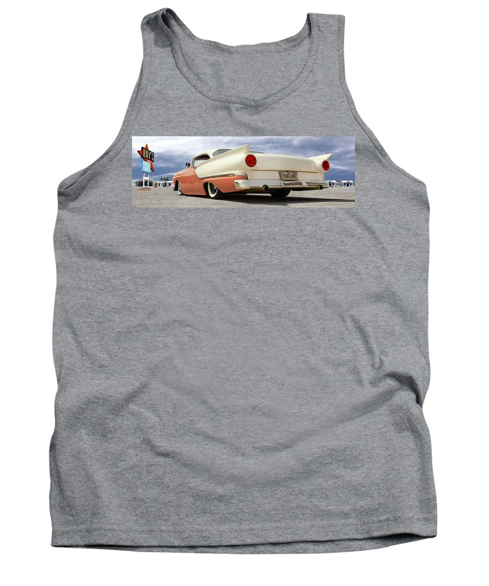 1957 Ford Tank Top featuring the photograph 1957 Ford Fairlane Lowrider by Mike McGlothlen