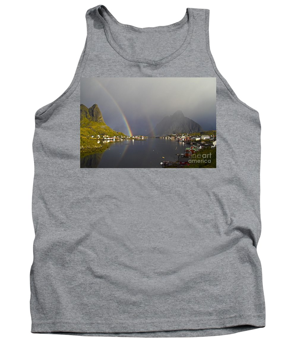 Landscape Tank Top featuring the photograph After The Rain In Reine by Heiko Koehrer-Wagner