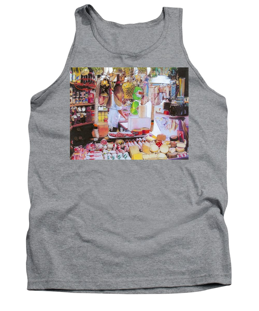 Food Tank Top featuring the mixed media Deli On The Via Condotti by Constance Drescher
